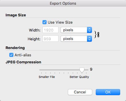 SketchUps Export Options dialog box in Mac OS X