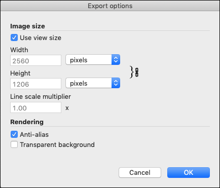 SketchUps Export Options dialog box for PNG and TIFF files in macOS