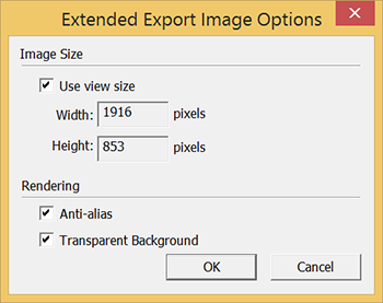 SketchUps Extended Export Image Options dialog box for PNG and TIFF files in Microsoft Windows