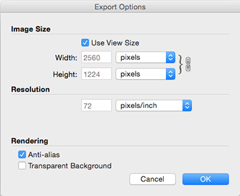 SketchUps Export Options dialog box for PNG and TIFF files in Mac OS X