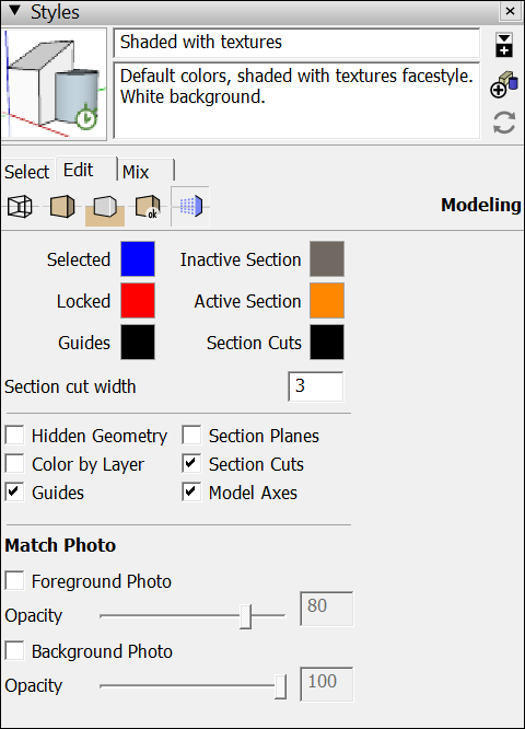 In SketchUp you can change the colors of modeling cues and choose what items appear on-screen
