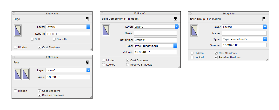 In SketchUp open the Entity Info panel to see details about the selected entity or entities