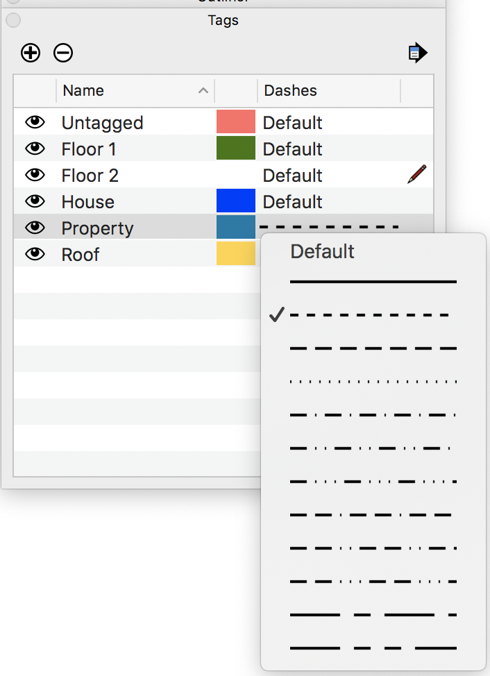 Applying Dashed Lines To Tags Sketchup Help
