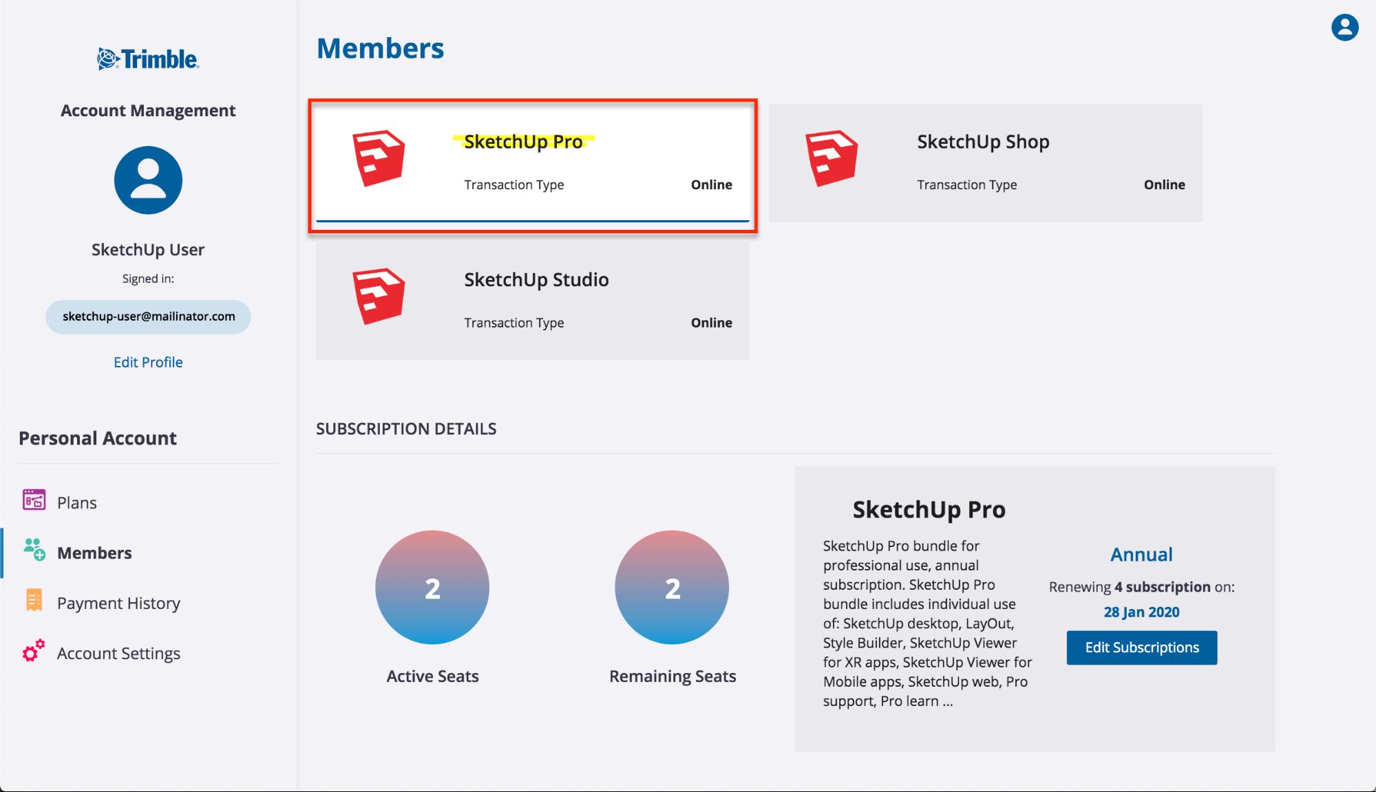 Managing Subscription Plans | SketchUp Help