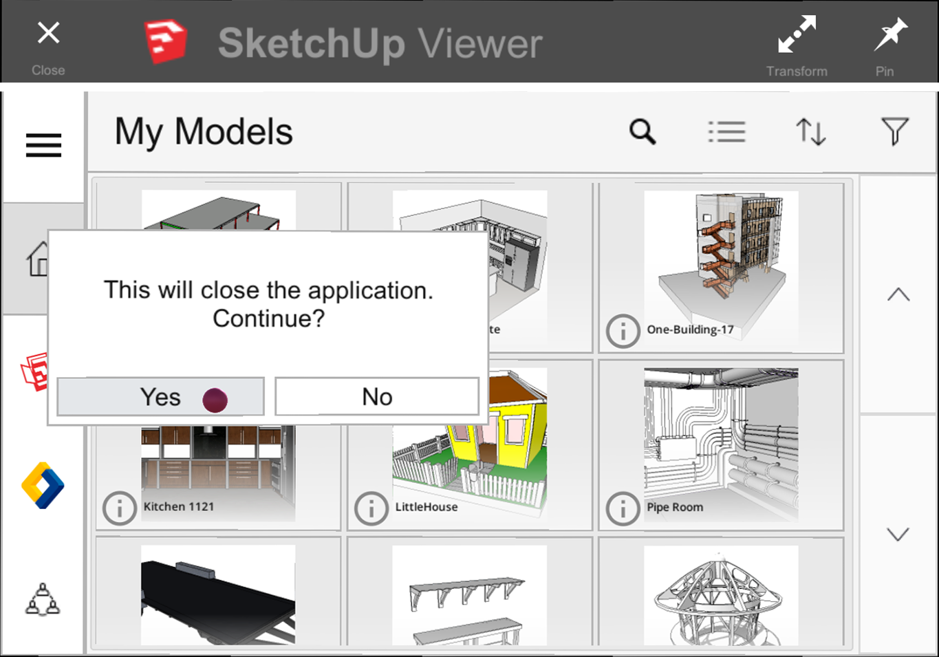 Air tap the Close icon on the Home Screen to close SketchUp Viewer for HoloLens