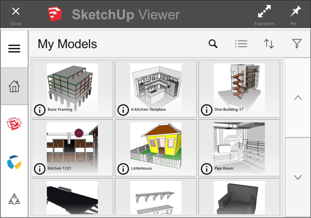 In SketchUp Viewer for HoloLens you see the Home Screen open to the Saved Models tab