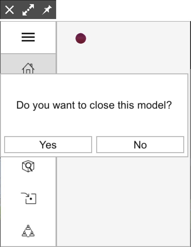 Confirm whether you want to close a model in SketchUp Viewer for HoloLens