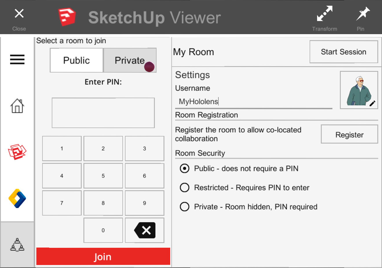 You can join a public or private collaboration room in SketchUp Viewer for HoloLens