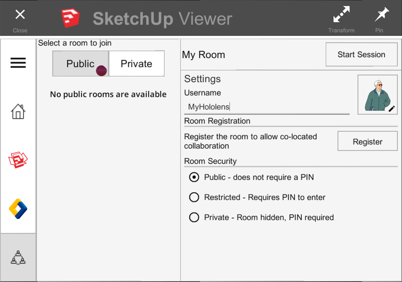 SketchUp Viewer for HoloLens enables you to edit your user name and avatar for a collaboration room