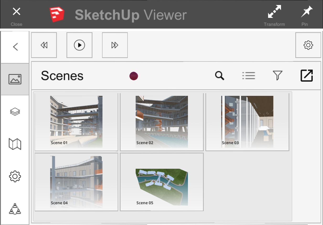In SketchUp Viewer for HoloLens, you can view scenes saved with the SketchUp model
