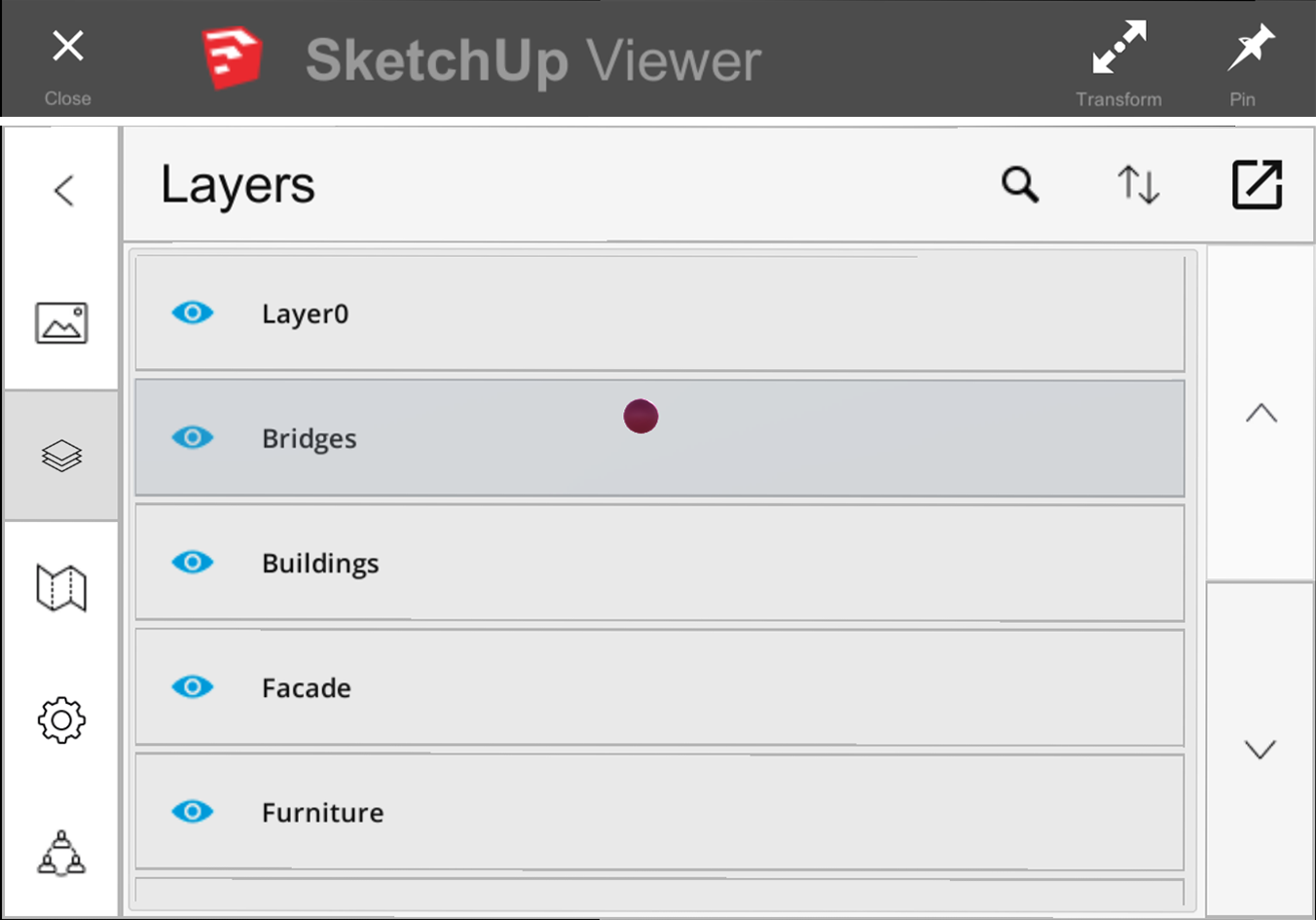 In SketchUp Viewer for HoloLens you can access model layers